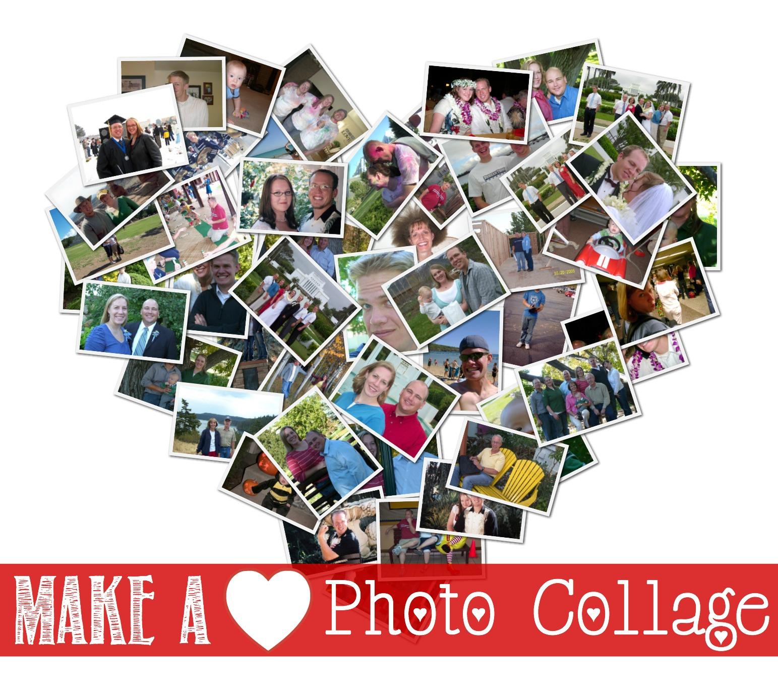 Make a heart-shaped photo colloage with this free software. GrandmaIdeas.com
