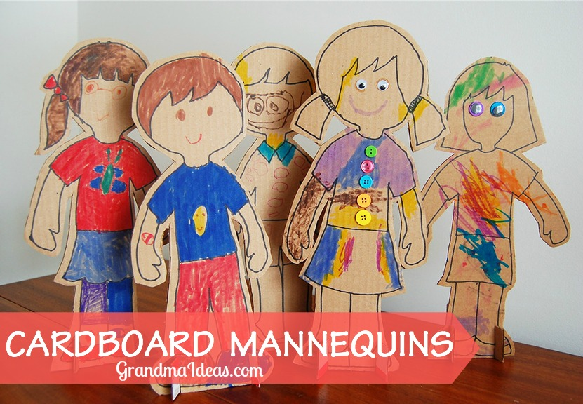 Make cardboard mannequins with the kiddos. GrandmaIdeas.com