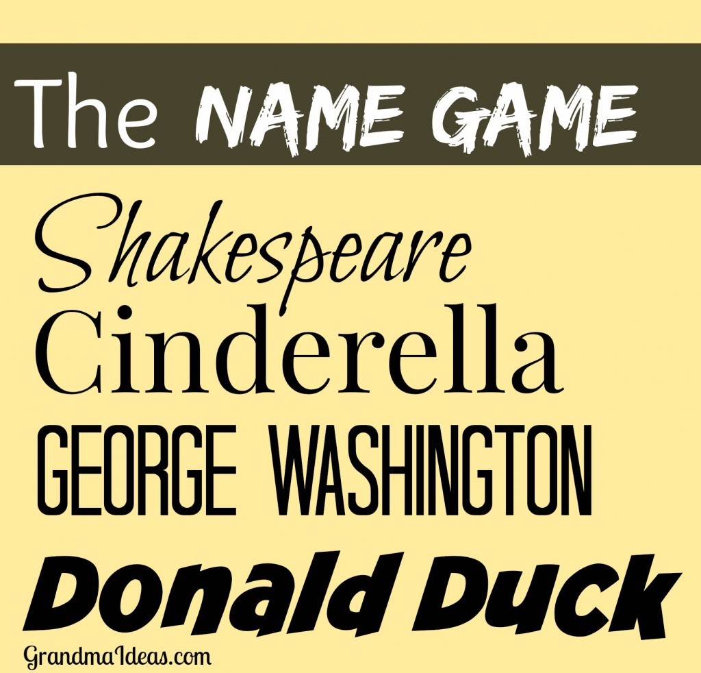 Play the Name Game -- fun for Christmas or New Year's Eve parties.     GrandmaIdeas.com