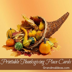 printable Thanksgiving place cards on Grandma Ideas