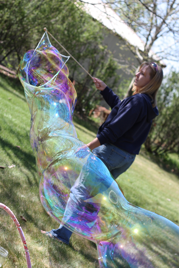 Make a bubble wand (with just 4 items) to make these HUMONGOUS bubbles!