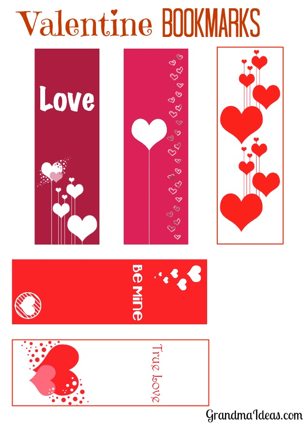 Free printable for fun Valentine's Day bookmarks.    GrandmaIdeas.com