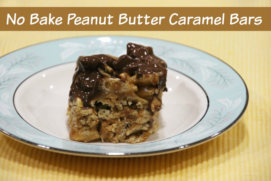 Here's a yummy recipe for no bake Peanut Butter Caramel Bars. You've gottta try them!