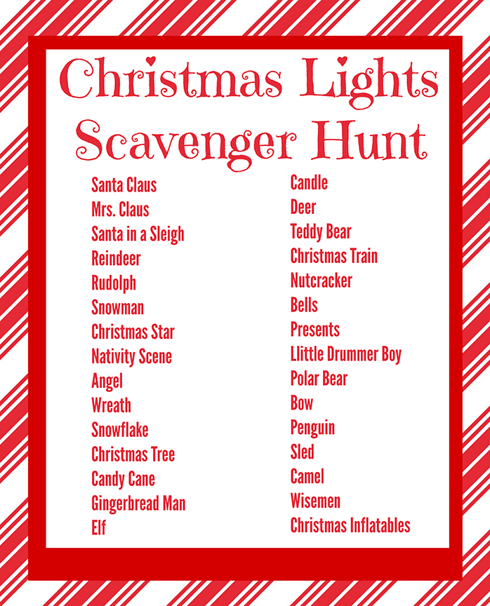 Play this Christmas lights scavenger hunt as you drive around and enjoy the Christmas lights with your family.