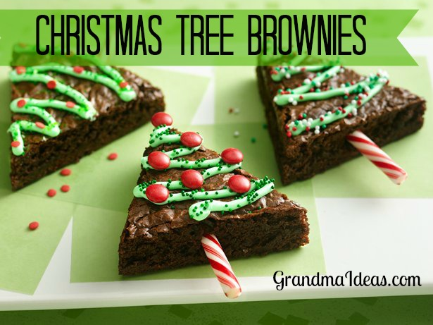 Make these yummy Christmas tree brownies GrandmaIdeas.com