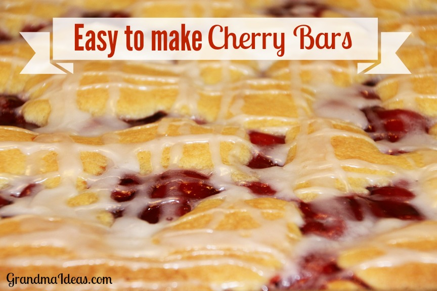 These Cherry Bars are easy to make and would be fun for Valentine's Day, President's Day, or ANY day. GrandmaIdeas.com