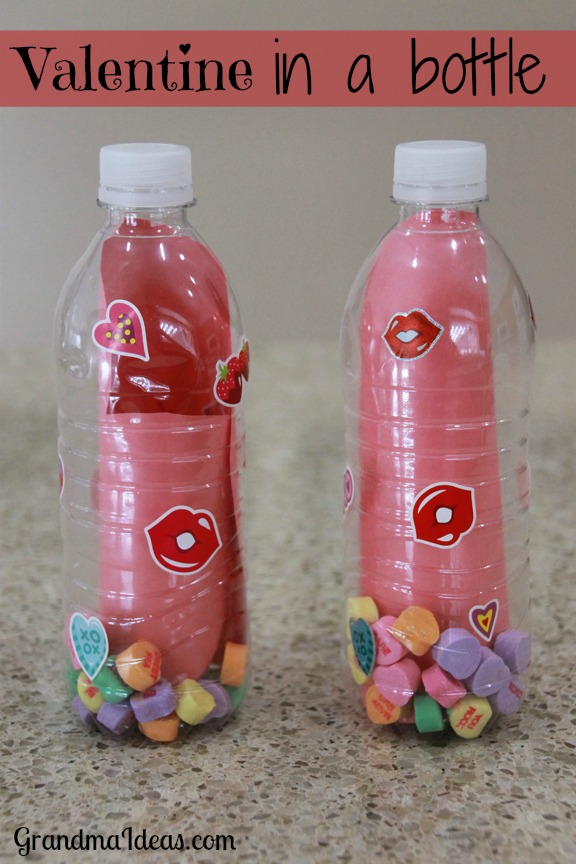For an unusual valentine, make this valentine in a bottle. GrandmaIdeas.com