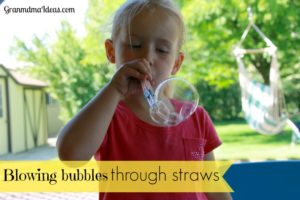 For a variation on your soap bubble blowing activity, tape 4 straws together to blow through them.  You'll get lots of multiple bubbles!