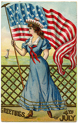 Free printables for vintage patriotic images. Great for 4th of July craft projects.