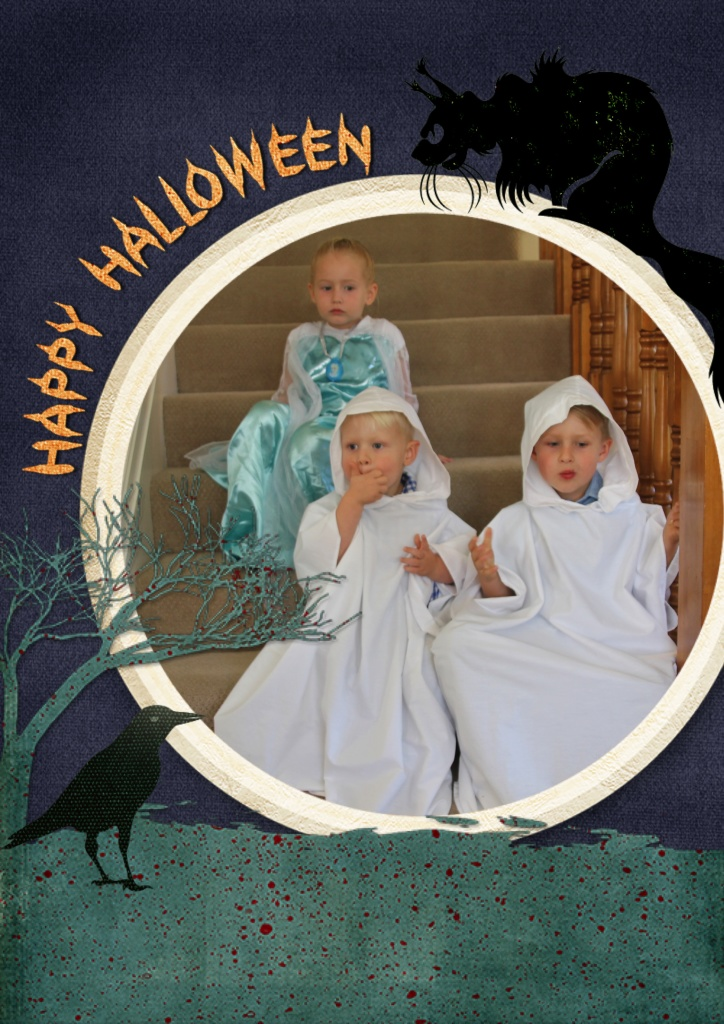 Cute grandkids in their Halloween costumes.