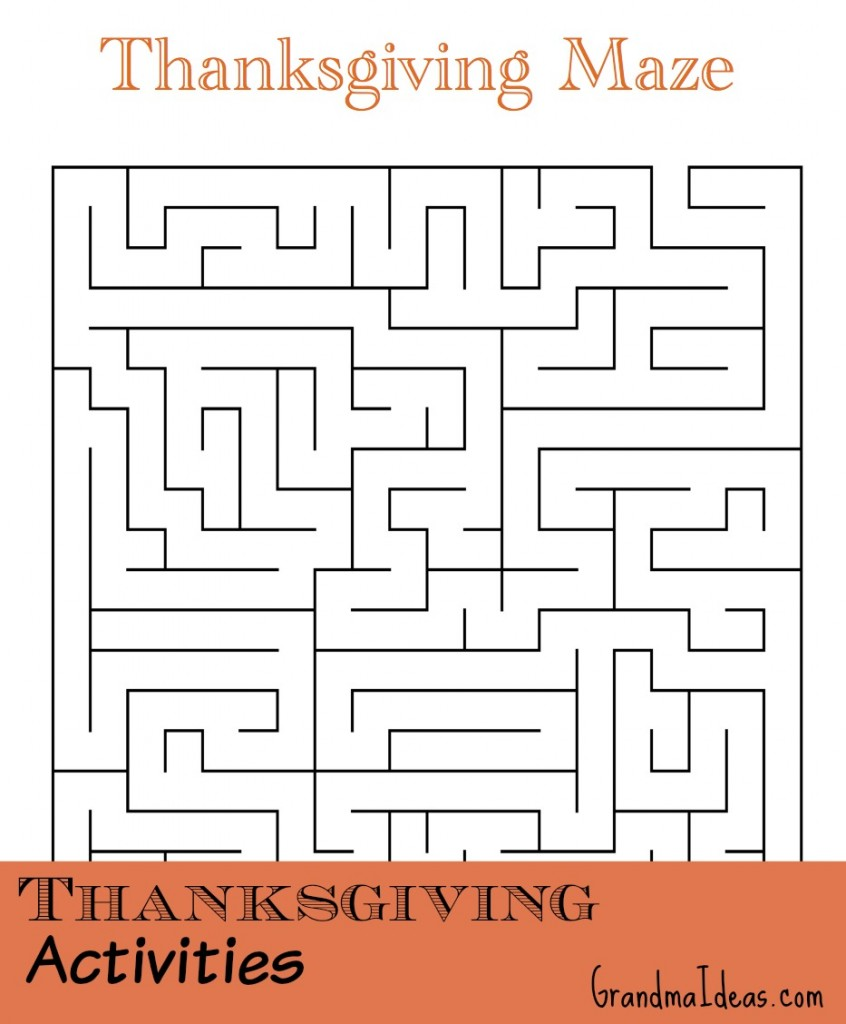 Free Thanksgiving printable with 2 mazes, 2 word searches, and 2 word scrambles for kids to do.