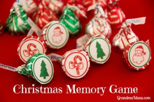 Free printable for this fun Christmas memory game uses Hershey's Kisses. Kids love playing the game -- and then eating the game pieces!