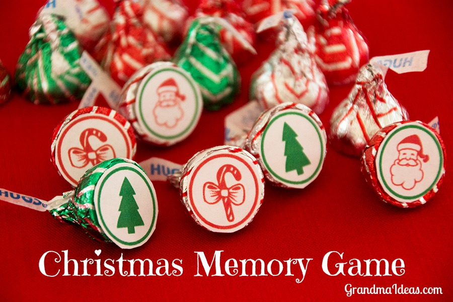 Play this Christmas memory game with Hershey's Kisses.