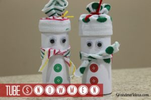 Kids love mMaking these simple tube snowmen!
