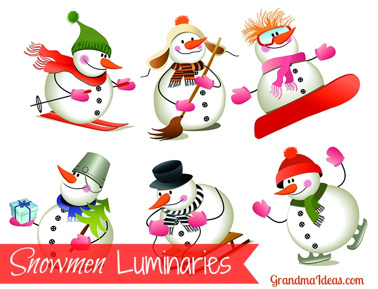Make these paper snowmen luminaries in less than 5 minutes!