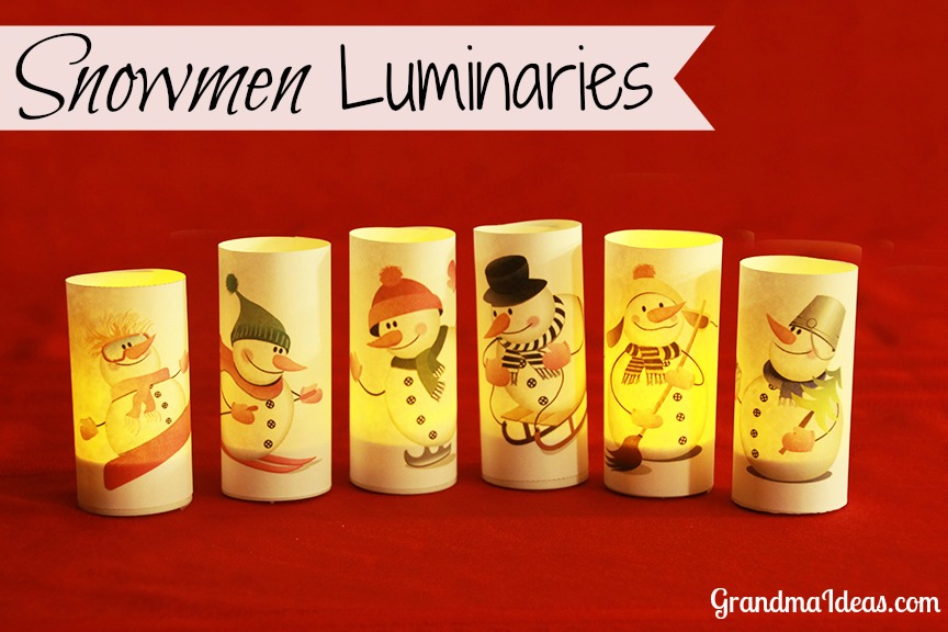 Paper snowmen luminaries that you can make in less than 3 minutes. GranmdaIdeas.com
