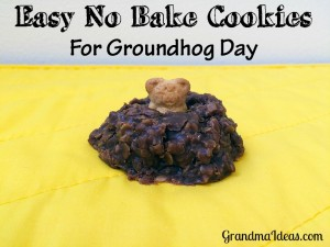 Turn these easy no bake cookies into a groundhog peeking out of his hole. GrandmaIdeas.com
