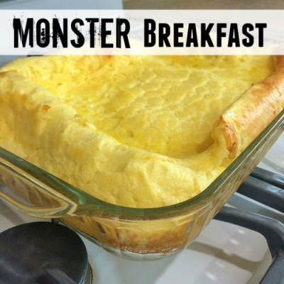 Monster Breakfast is a fun dish to make for kids. You never know what it will look like when it comes out of the oven. It's easy to make -- only 4 ingredients.
