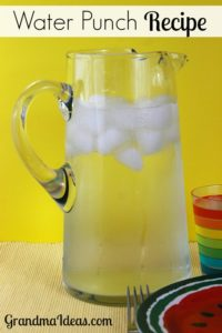 Grandma Ideas: This easy to make Water Punch recipe is a crowd pleaser. It's an easy way to make a lemonade drink without squeezing lemons!