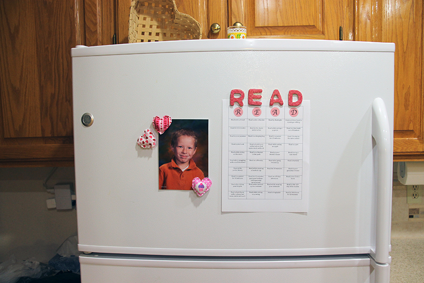 You can use Mod Podge alphabet magnets on your fridge.