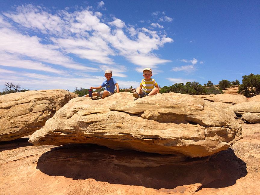 Our grandsons enjoy climbing and playing on the red sandstone rocks around Moab, Utah.