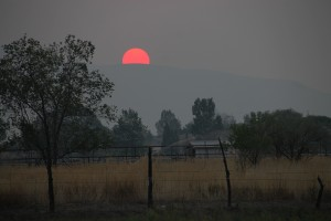 The smoke from the fires in California makes the sun red at sunset.