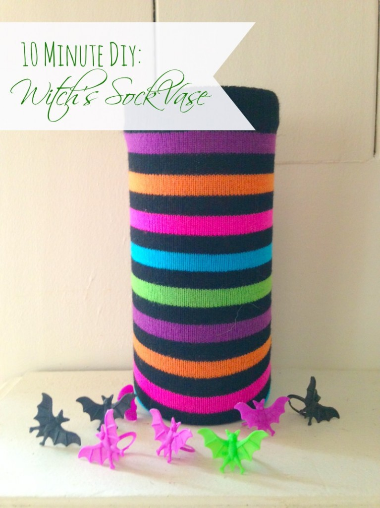 This sock vase makes a delightful Halloween decoration that you can make in mere minutes.