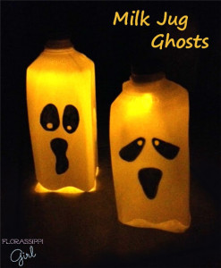 These milk jug ghosts are so simple to make. Draw a face on the jug, cut the bottom off, and insert a battery-powered tea light in the mouth of the jug. Simple. Easy.