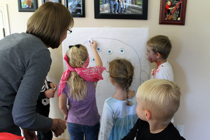 Play pin the eyeballs on the monster at your family Halloween game.