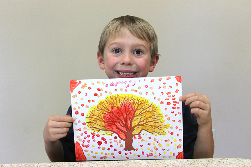 Even though this craft is extremely simple, kids absolutely love doing this fall leaf painting.