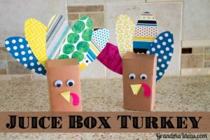 Turkeys made from a juice box is a super easy Thanksgiving craft.