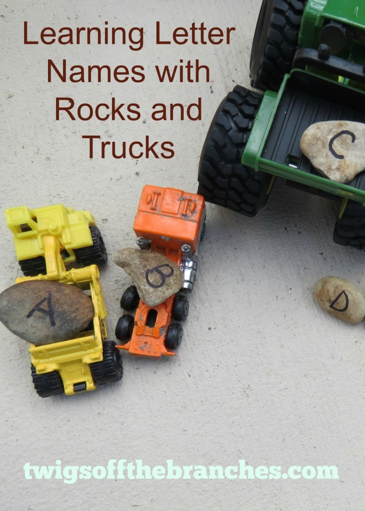 Learning the alphabet with rocks and trucks is a fabulous activity for boys.