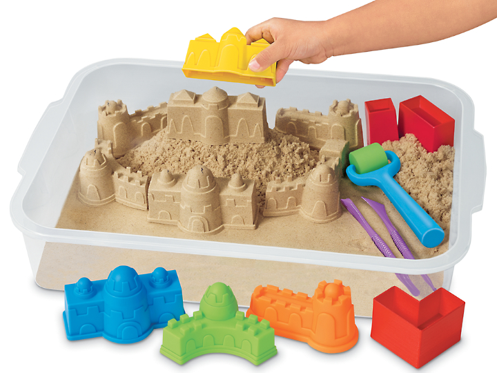 This Mold & Play Sensory Sand Set from Lakeshore Learning is fabulous. The sand is amazing. It's soft and moldable yet doesn't stick to clothes or fingers. It's easy to clean up. You've got to try it!