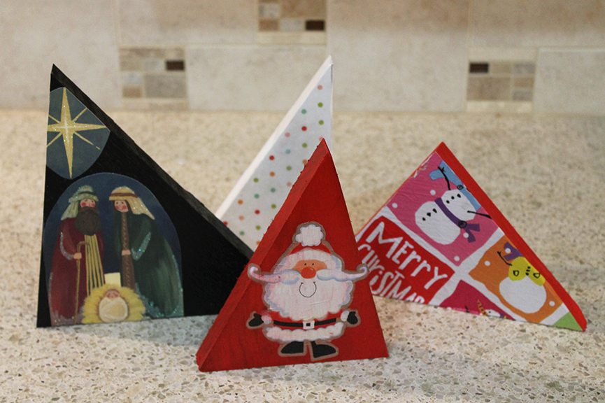 Christmas Wood Craft Ideas Part - 37: Make Wooden Christmas Trees From Wrapping Paper, Old Christmas Cards, Or  Holiday Napkins.