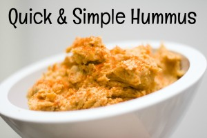Here is a recipe for super quick-and-simple-hummus.