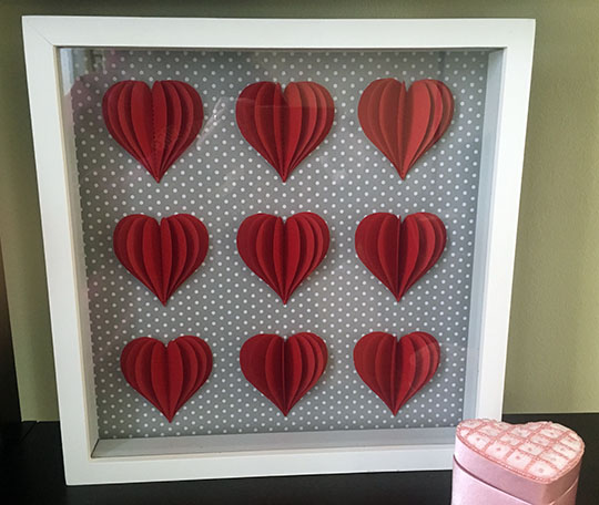 This 3D heart shadow box was featured at the Party in Your PJs link party.
