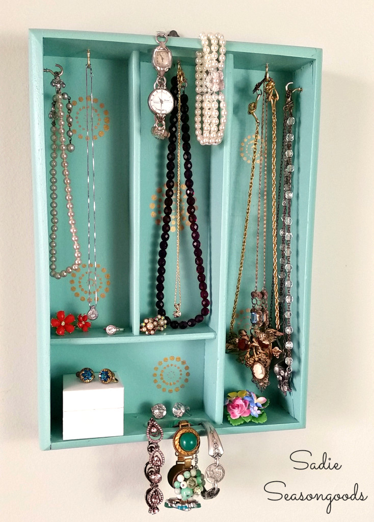Jewelry holder made out of a find at the thrift store.