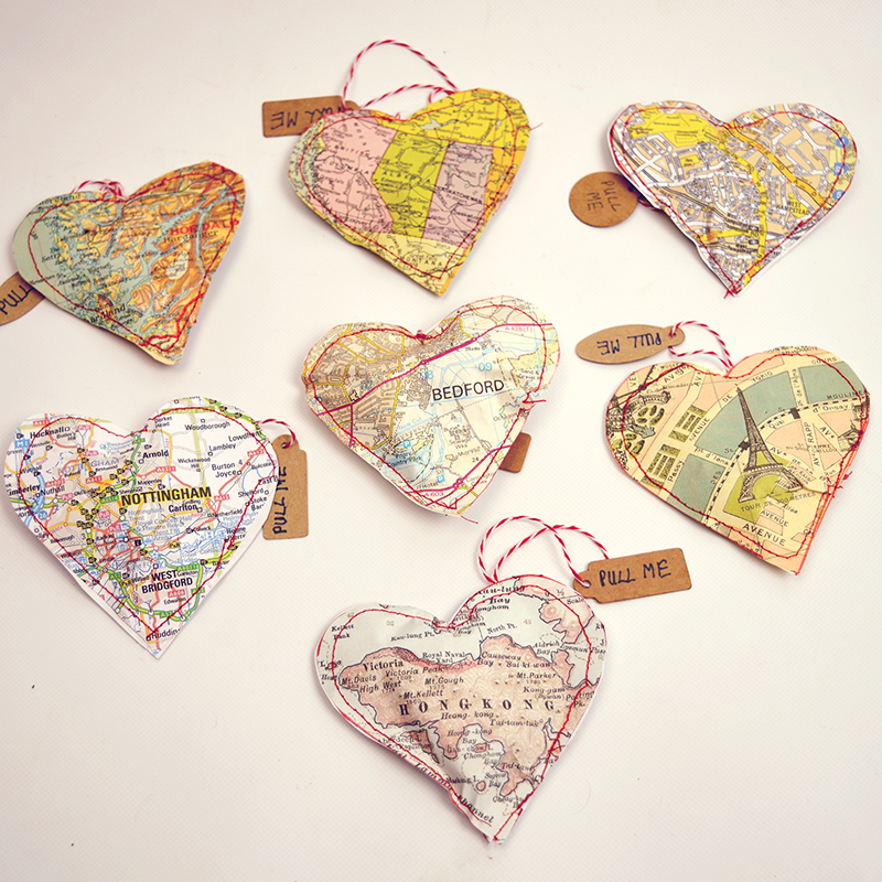 These Valentine hearts made out of old maps was features at Party in Your PJs link party.