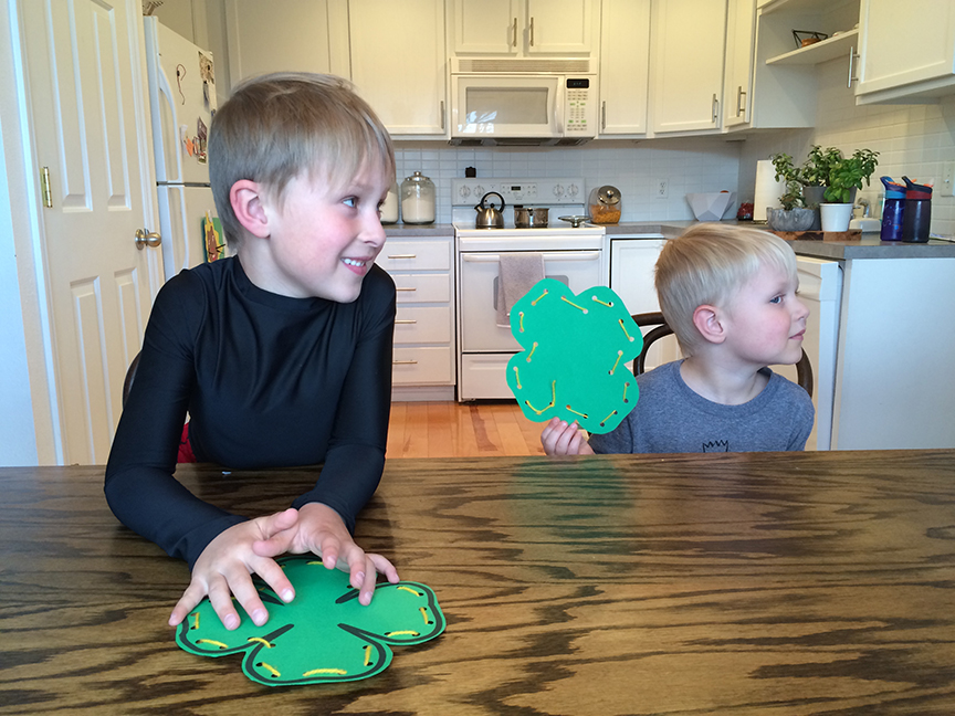 Kids will love doing these shamrock lacing cards for St. Patrick's Day!