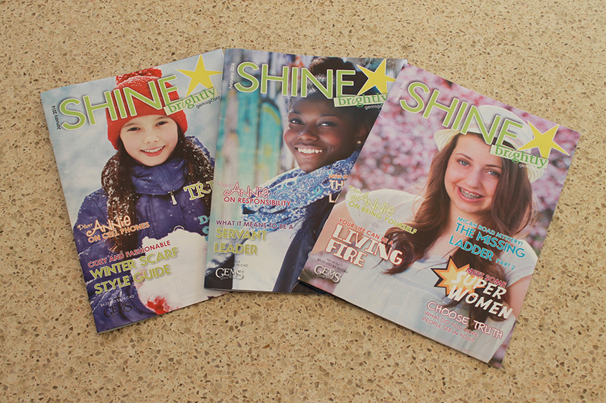 Shine brightly and Sparkle are excellent Christian-based magazines for girls in the first grade through the eighth.