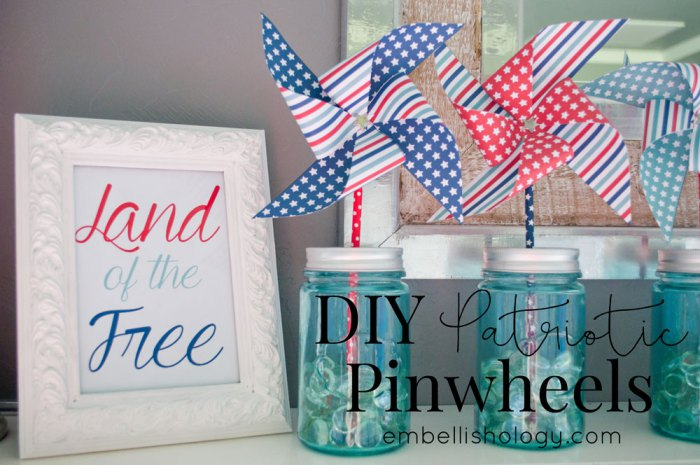 These patriotic pinwheels were features at Party in Your Pajamas link party.