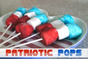 These Patriotic Pops are a super easy treat to make - wet marshmallows, roll in dry Jell-O, and put on a sucker stick!