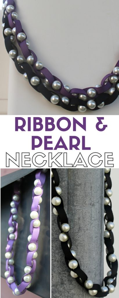 This ribbon and pearl necklace was featured at the Party in Your PJs link party.