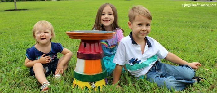 This bird bath was featured at Party in Your PJs link party.