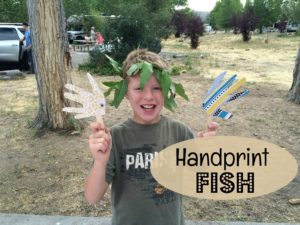 Kids love making handprint fish. Have them trace around their hand and cut it out. Then, glue on eyes and a craft stick and they are done!
