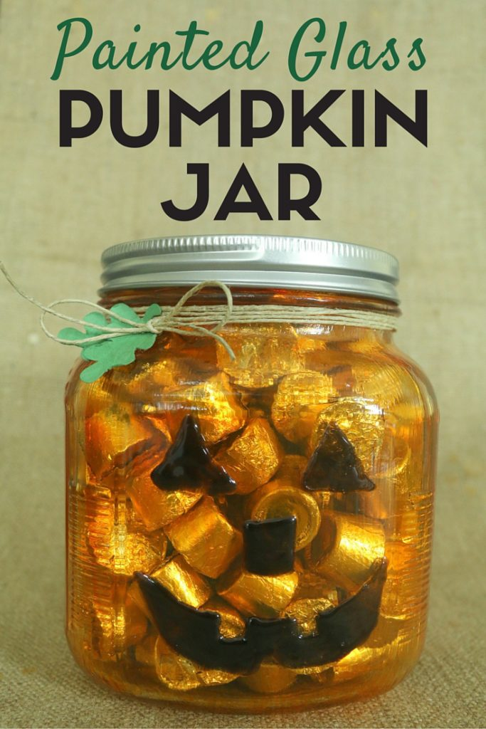 This pumpkin painted jar was featured at Party in Your PJs link party.