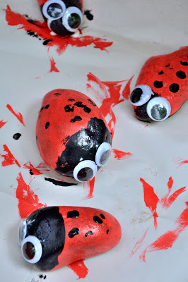 This ladybug rock craft was featured at Party in Your PJs.