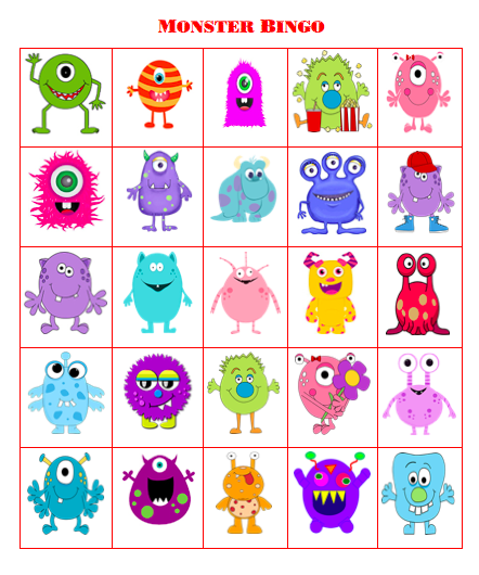 photograph about Printable Monster named Cost-free Printable Monster Bingo - Grandma Plans