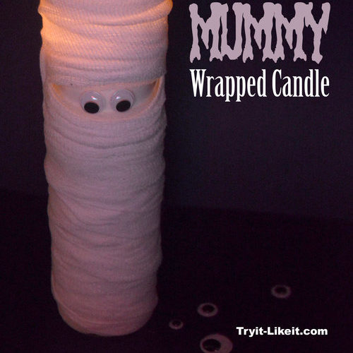This mummy candle was featured at Party in Your PJs.