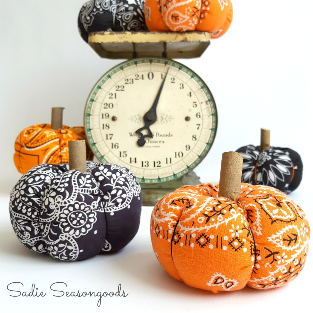 These pumpkins made out of bandanas were featured at Party in Your PJs link party.